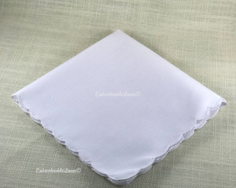 White Scalloped Edge Hem Vintage Handkerchief 12in x 12in Blank EmbroiderableLinens© Ships next day! From The USA!