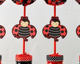 Ladybug Party Theme Ribbon Topiary Centerpiece -Set of One - Black or Red Ribbon Topiary Centerpieces