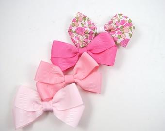 Pink Hair Bow Set - Hair Bow Gift Set - Pigtail Hair Bows - Pink Flower Hair Clips - Small Hair Bows Set - Toddler Teenager Adult Hair Clip