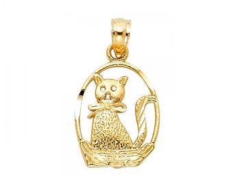 14K Solid Yellow Gold Kitten In Basket Pendant - Cat Necklace Charm