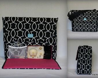 Alana style Breast Pump Bag in Titan Onyx print