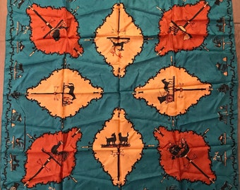 Vintage 1950s Large Silk Novelty Print Scarf Country Weathervanes