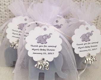Baby Shower Favors - Elephant Baby Shower - Tie the Tags on Yourself- Baby Shower - Mini Elephant Favors - 2 soaps per bag - 20 favors