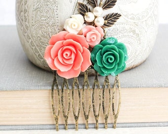 Flower Collage Hair Comb Bridal Hair Piece Coral Wedding Hair Accessories Emerald Rose Kelly Green Comb Colorful Hairpiece Hair Jewelry