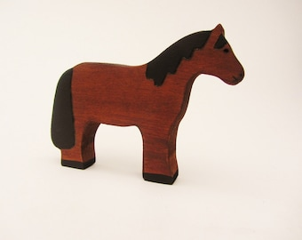 Wooden Horse Toy Waldorf wood natural animal figure