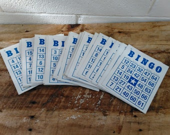 Bingo Cards - 39 Bingo Cards - Blue Bingo Cards - Scrapbooking - Crafts - Party Supplies