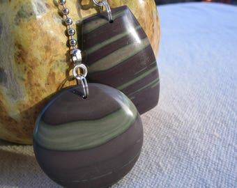 Fan Dangle / Ribbon Jasper on Silver Light Pulls Switch Pull Grey Gray Charcoal