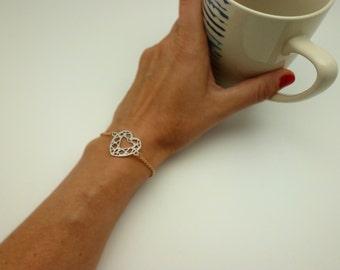 Heart Bracelet pink gold silver plated Diamond shape bracelet chain bracelet gold Made in Italy - hand made