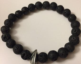 Panther lava bead