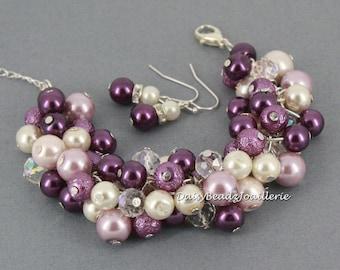 Pearl Cluster Bracelet Shades of Purple Cluster Bracelet Purple Pearl Bracelet Bridesmaid Gifts Cluster Bracelet Pearl Jewelry Wedding