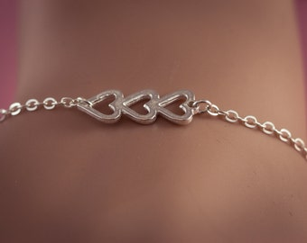 Sale! Silver  Three Open Heart Bracelet, Sterling Silver Heart Jewelry, Friendship Bracelet Gift, Sweetheart , Mom