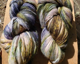 Hand dyed yarn Lichen and Periwinkle