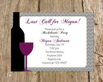 Wine Tasting Bachelorette Party Bridal Shower Invitation, Chevron Design