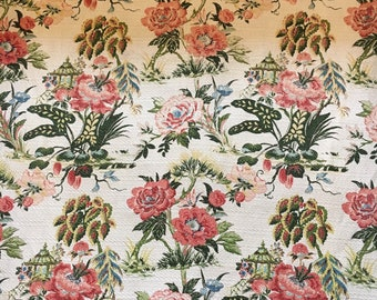 Floral barkcloth curtain panel