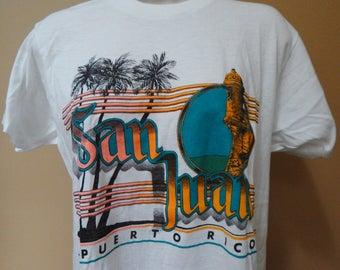 San Juan Puerto Rico burnout tshirt, 80s/90s graphic tshirt