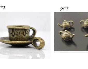 charm individually - Cup coffee copper silver bronze - coffee charms - tea charms - kitchen charms