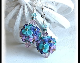2448, Spring earrings, floral earrings, lavender earrings, rose earrings, teal earrings, spring jewelry, Mothers Day jewelry, gifts for her