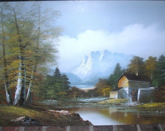 H. WILSON Vintage Oil Painting on Canvas, Old Sugar Mill, Water Wheel, Mountain Landscape