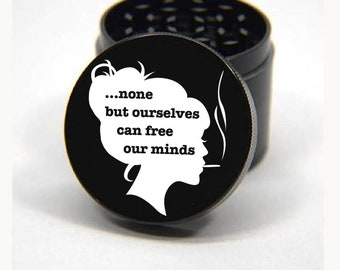 Laser Engraved Herb Grinder - Free Your Mind Empowerment Artwork Design 4 Piece Grinder #