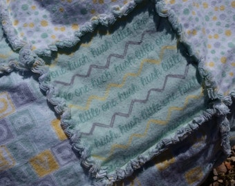 Hush Little One - Mint, Gray and Yellow - Baby Rag Quilt