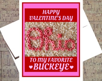Ohio State Card, Funny Valentine Card, Buckeye Card, Valentine Card, OSU Card, Scarlet And Gray, Ohio State Buckeyes, Happy Valentine