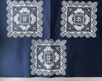 3 vintage handmade lace  doilies shabby chic needlework ,country cottage Flamish farmhouse