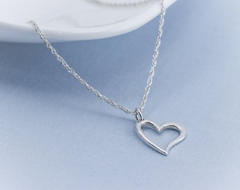 Valentine Necklace, Silver Open Heart Necklace, Sterling Silver Heart Jewelry, Friendship Necklace Gift, Sweetheart Necklace,