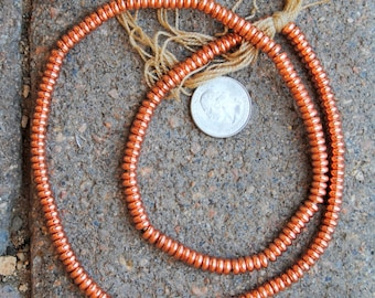 Indian Metal Disc Beads : Copper Finish 3x6mm
