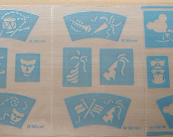 set of 3 STENCILS for porcelain and ceramics - pattern plates - ref.771