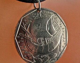 PORTUGAL  NECKLACE.  portuguese coin.  ship pendant . pirate. galleon. fish. seaman . 50 escudos. Republica Portuguesa.  jewelry No.001161