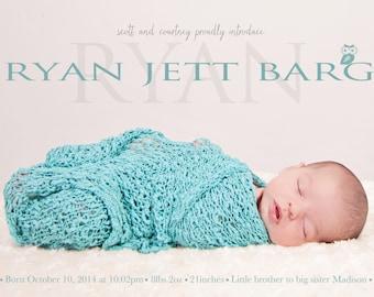 Baby Boy Birth Announcement - Ryan Jett - Baby boy  Announcement -