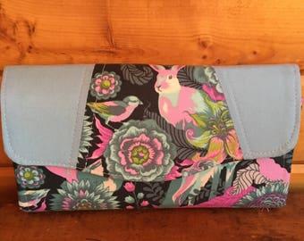 NCW/ Necessary Clutch  Wallet/ womans wallet/animals/pastels/gift/rabbit/tula pink/ handmade