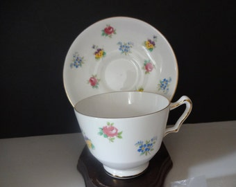 Vintage Crown Staffordshire Tea Cup & Saucer  - Collectible - Floral Bouquet - English Bone China - Tea Party