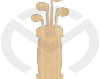 Golf Bag w/Clubs - 01578- Unfinished Wood Laser Cutout, Door Hanger, Home Decor, Ready to Paint & Personalize, Various Sizes