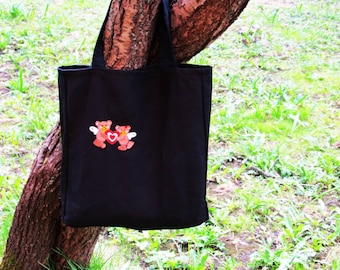 A cotton bag, Embroidered tote bag Black cotton Grocerie Reusable Bag Eco-friendly Natural Beach tote bag FREE SHIPPING