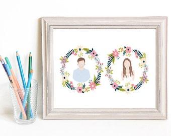 Though Very Humble : Custom Floral Wreath Cameo Wedding 8x10 Portrait Illustration