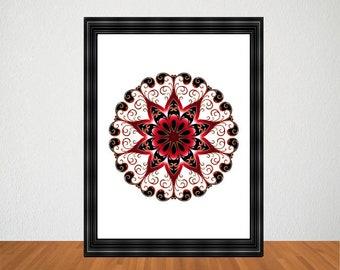 Printable Kaleidoscope Wall Art, Mandala Wall Art, Abstract Kaleidoscope Print, Mandala Print, Mandala Home Decor, Abstract Mandala Print