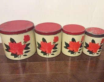Set of containers stacking metal with rose pattern