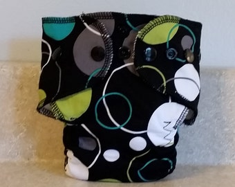 Fitted Preemie Newborn Cloth Diaper- 4 to 9 pounds- Black Circles- 16019