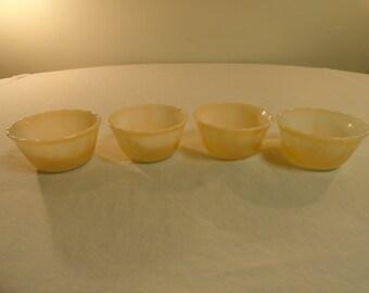 Set Of 4 Fire King Peach Lustre Custard Cups
