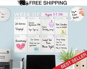"""Modern Dry Erase Weekly """" Week Of """" Wall Calendar - White board /Dry Erase Decal Calendar, Weekly Calendar, Weekly Dry Erase Wall Decal"""