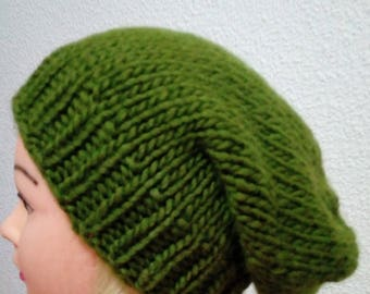 Hand knit hat Oversized Chunky Wool  Hat    color green olive, hat slouchy hat    green olive, cable hat Superwash Wool