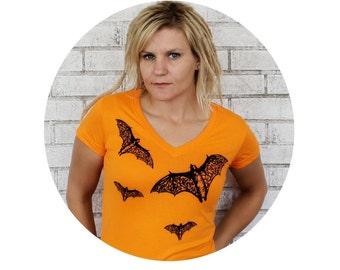 Vneck Bat Tshirt, Womans Screenprint Tshirt, Halloween Bat tee shirt dyed orange or custom colors