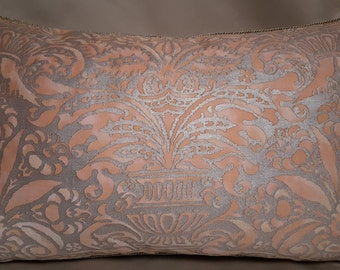 Fortuny Fabric Lumbar Throw Pillow Cover Apricot & Silvery Gold Campanelle Pattern - Made in Italy