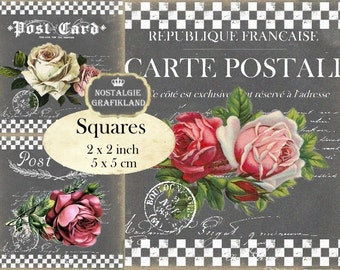 Chalkboard Roses Postcards Carte Postale Flowers Fleurs 2x2 inch squares Instant Download digital collage sheet TW131