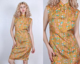 60s Floral Cheongsam Dress // Vintage Leaf Print Knee Length Dress Qipao Mandarin Collar Chinese - Medium