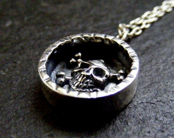Silver Skull Necklace Shadow box Sterling Skull pendant with silver chain