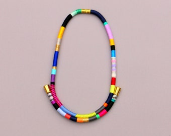 Colorful Statement Rope Necklace For Women, Big And Bold Art Necklace For Her, Contemporary Textile Jewelry, Unique Jewelry Gift
