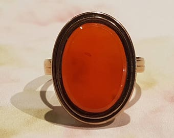 Carnelian Agate Signet Seal Ring