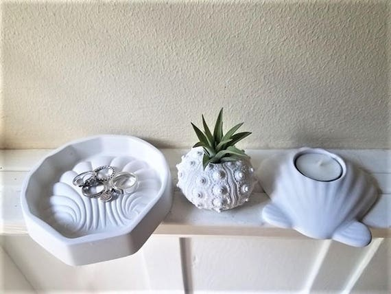 Seashell candle holder gift set, seashell ring dish, clam shell, urchin air plant holder, nautical home accent, beach house decor